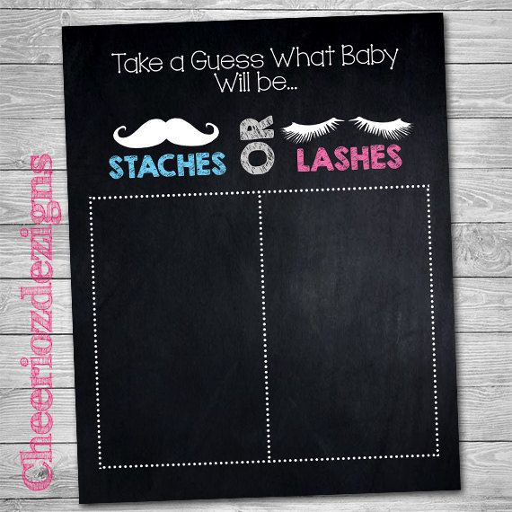 Gender Reveal Chalkboard Sign Staches or Lashes by CheeriozDezigns