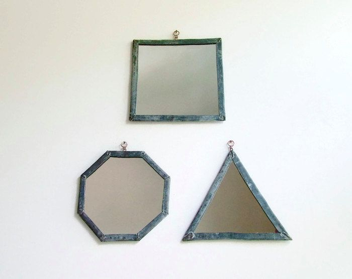 3 leaded mirrors geometric mirror set industrial wall mirrors decorative wall mirrors triangle mirror square mirror octagonal mirror