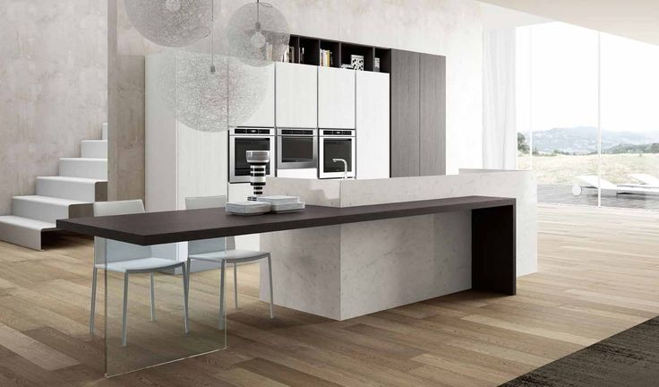 awesome contemporary kitchen decoration with wooden floor and white appliances luxury style