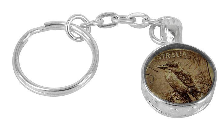 Kookaburra vintage stamp key chain