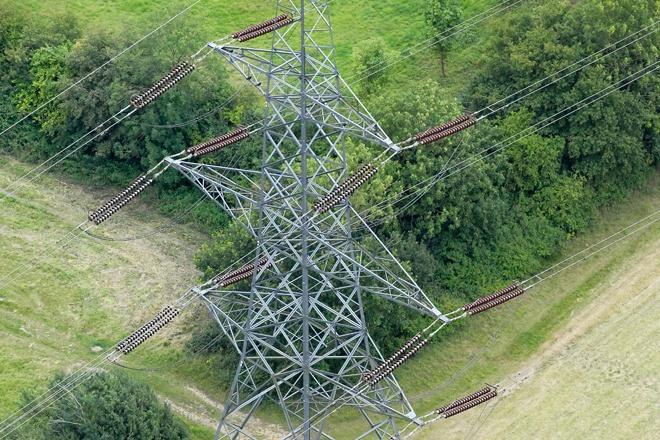 An aerial photograph of an electricity pylon