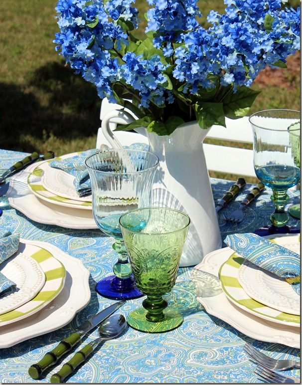Blue/Green TablescapeBlue Tablescapes, Bluegreen, Terrific Tablescapes, Country Kitchens, 2012 Blue Green, Blue Green Tablescapes