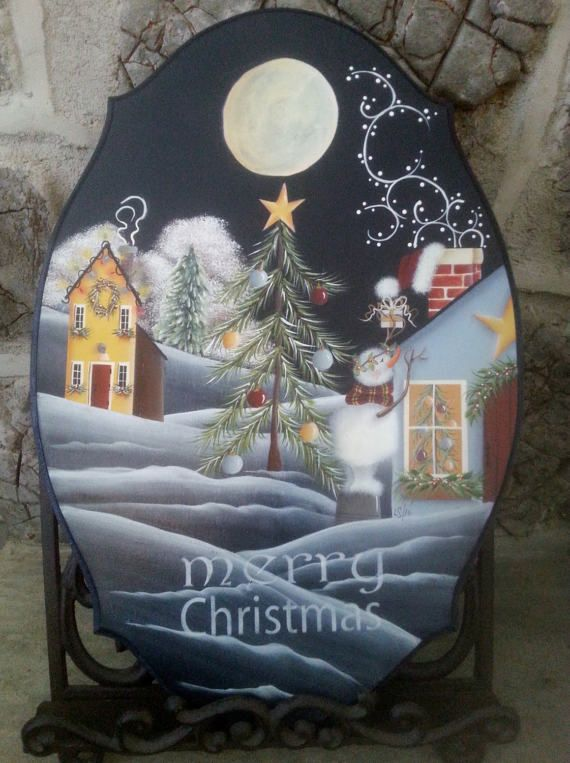 Christmas Magic Tole painting pattern by ThePaintingHouse on Etsy