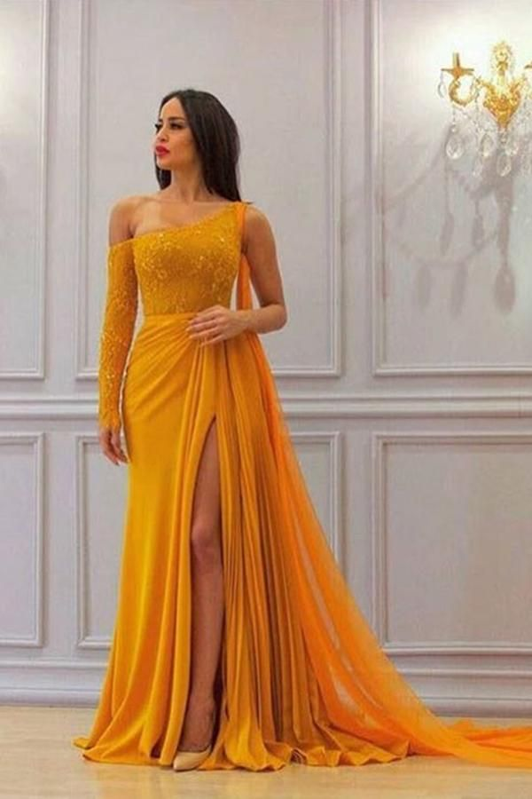 A Line Yellow One Long Sleeve Chiffon Prom Dresses, High Slit Formal Dresses uk BL20192573
