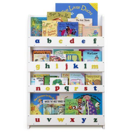 The Tidy Books Kid's Bookcase in White with Lowercase Letters