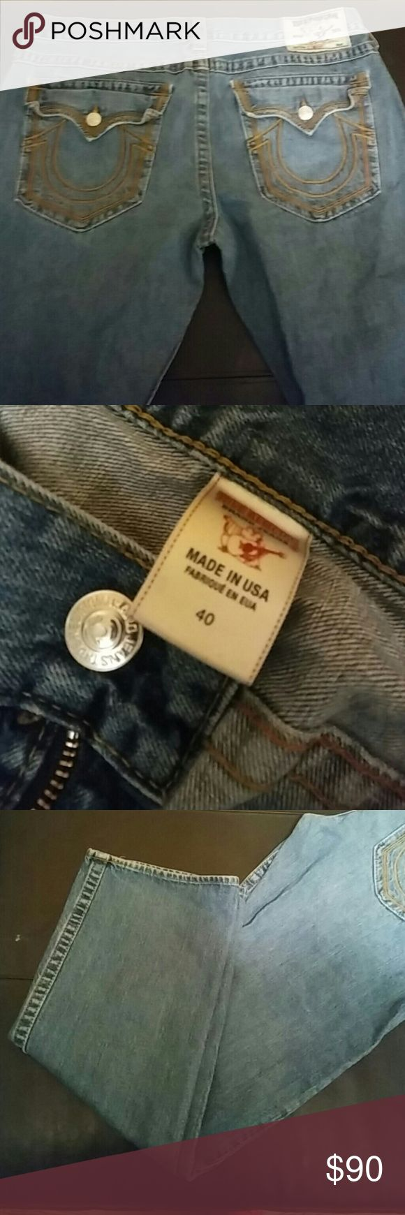 """True Religion"" Men straight jeans sz 40 Mens/ size 40 Jeans/ Straight Leg True Religion Jeans Straight"