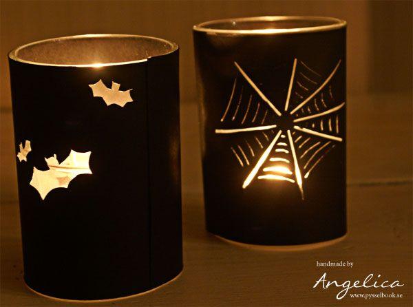 Ljuslykta, halloween, lykta, ljus, spindelnät, fladdermöss, dukning, pyssel