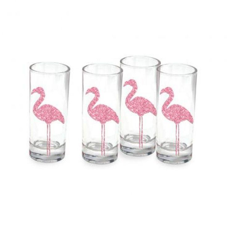 Ensemble de 4 verres à shooter décorés de flamants rose étincelants.