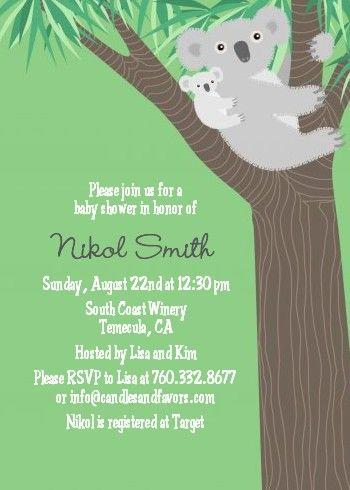 Koala Bear - Baby Shower Invitations