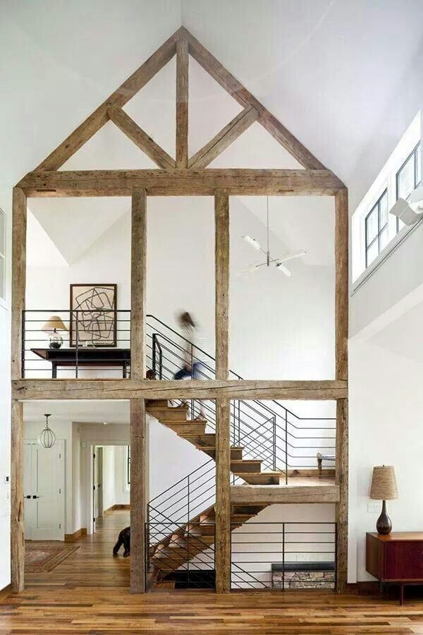 Rustic beams against white walls