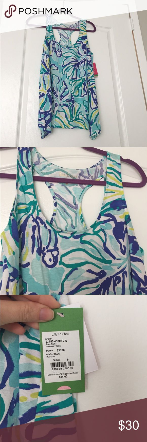 "Lily Pulitzer Monterey Tank Brand new with tags Lily Pulitzer Monterey Tank in ""Pool Blue"" print! A cute racer back style tank top with curved hemline. Super flattering and flowy and the print looks amazing with white jeans or shorts! lily pulitzer Tops Tank Tops"