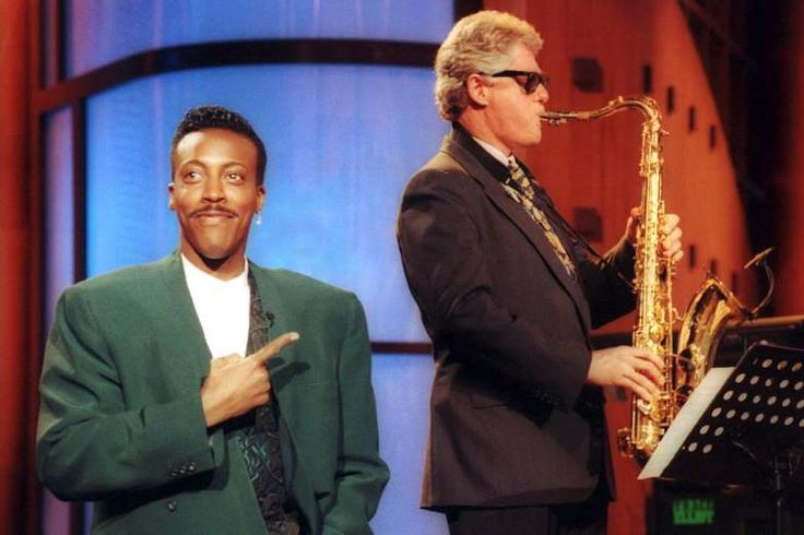 "June 3, 1992: BILL CLINTON PLAYS ""HEARTBREAK HOTEL"" ON THE SAXOPHONE  Democratic presidential candidate Bill Clinton appears on ""The Arsenio Hall Show,"" where he plays ""Heartbreak Hotel"" on the saxophone."