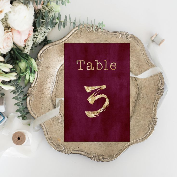 Printable Wedding Table Numbers - Personalized Watercolor Floral Wedding - Elegant Wedding Set - Calligraphy Wedding Burgundy Faux Gold Foil by OnionSisterCreative on Etsy