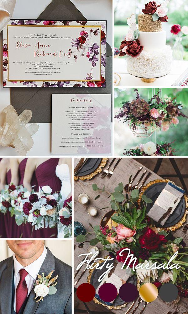 Newest wedding colors inspiration 2017 Marsala and gold Burgundy Gold Wedding Invitation - Spring Romantic Wedding invitation suite {Aster design - Sku: AstLay01}