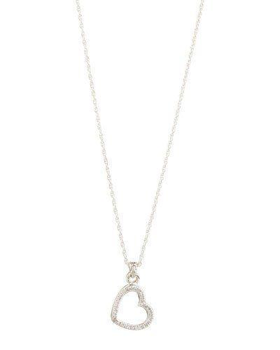 Silver Diamond Double-Heart Locket Pendant Necklace