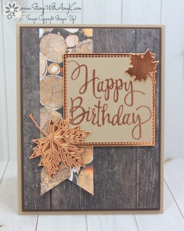 I really liked the sketch that I used for my card yesterday, so I thought that I'd use it again to make a more masculine birthday fall card to share today! I used the Stampin' Up! Styl…
