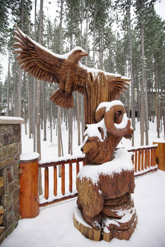 The totem has taken up a place of prominence outside of Dave and Betsey Golterman's beautiful log home in Breckenridge, Colorado.