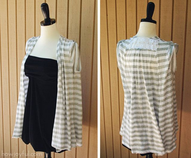 love this summer vest made from 2 t shirts, really love the lace at the top back