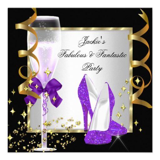Purple Black Silver Womens Birthday Party Invitation
