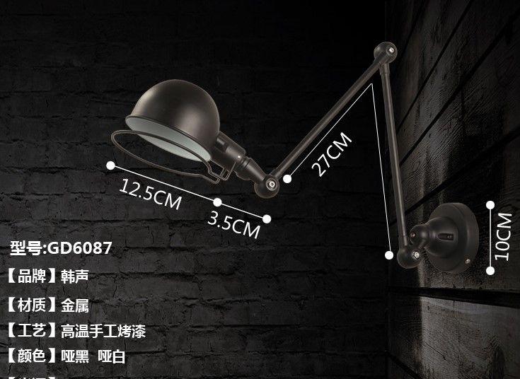 Retrò loft industriale ha condotto la luce della lampada da parete d'epoca con braccio lungo parete, riparo arandela de pared in Specifiche Informazioni luce Tipo Forcellone luci Stile Moderna/contemporanea Direzione dda Lampade da parete dell'interno del LED su AliExpress.com   Gruppo Alibaba