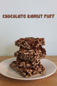 Healthier Chocolate Kamut Puff Squares | - just made these, yummy!! think i would add a bit more something to keep them together, bit crumbly