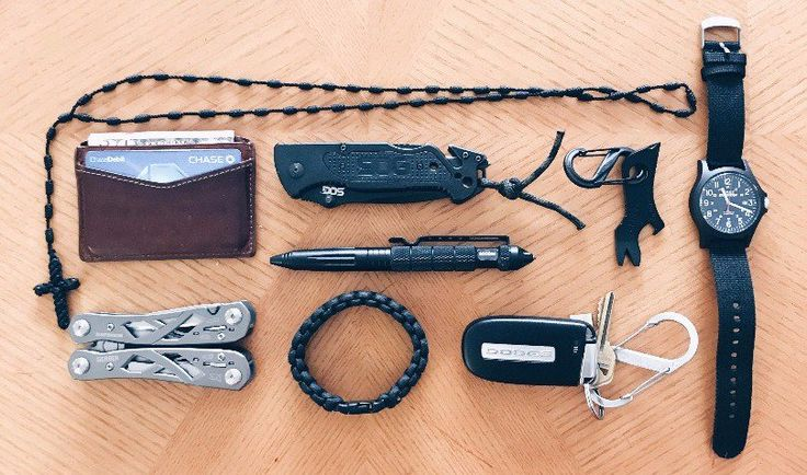 """My Essential EDC  submitted by Jonathan Carrillo  Timex TW4999900 """"Expedition Camper"""" Indiglo  Gerber Shard  OEM Dodge Keyless Entry Remote Fob 4-Button Smart Proximity Key (FCC ID: M3N-40821302 / P/N: 68051387)  SOG FF-25 Escape Knife  SOCOM 6"""" Black Anodized Aluminum Tactical Pen  Gerber 01471 Suspension Butterfly Opening Multi-Plier with Sheath  Fossil Men's Quinn Card Case Brown One Size  SecureLine NPCB550CL 550 Nylon Paracord Survival Bracelet Large Camoflage  Nite Ize S-Biner #2…"""
