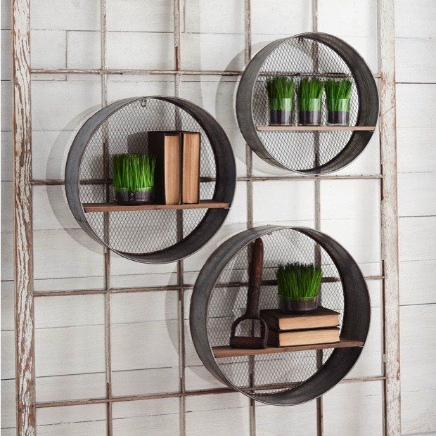 Round Metal Wall Shelves, Set of 3
