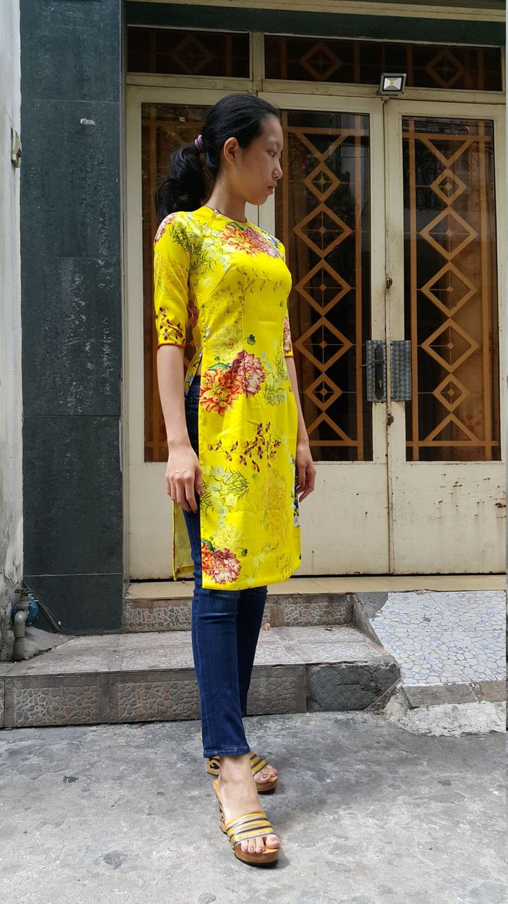 Yellow modern Ao Dai. Stretch cotton fabric. Knee length tunic dress only (no pants included)