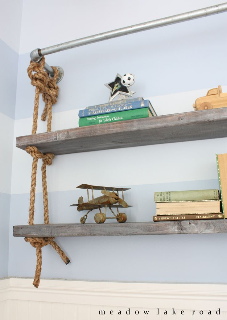 Industrial pipe and rope shelves in boy's bedroom. Inspired by Restoration Hardware. www.meadowlakeroad.com