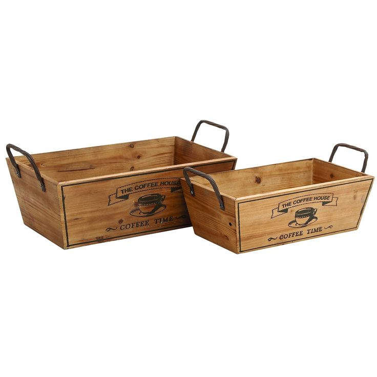 Woodland Imports 93902 Wooden Metal Handle Wine Tray   Set Of 2. Barn WoodKitchen  DecorKitchen ...