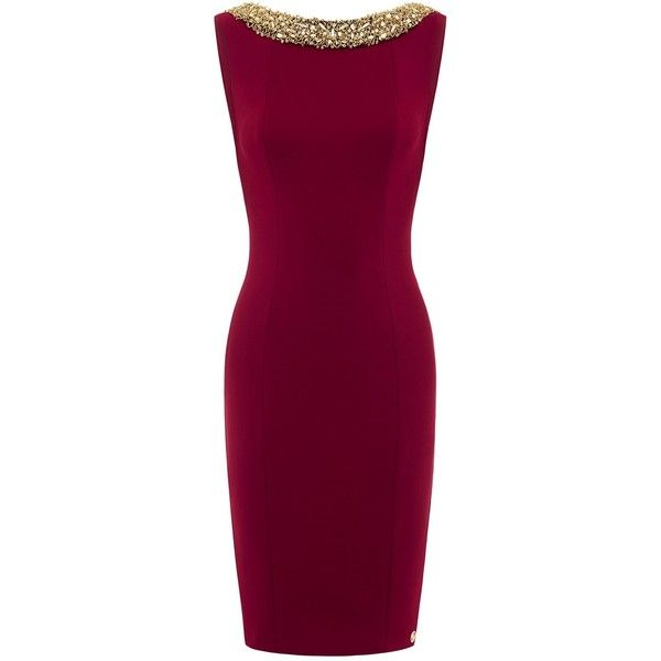 Aloura London - Chelsea Dress Dark Red ($360) ❤ liked on Polyvore featuring dresses, formal cocktail dresses, purple formal dresses, backless dresses, embellished cocktail dress and formal dresses