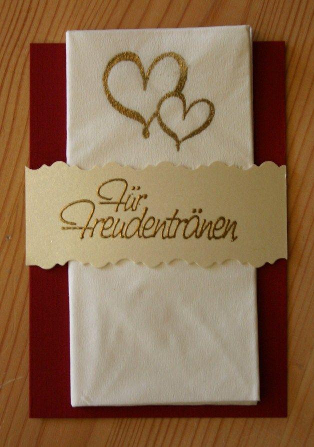 """Hochzeitskarten - Bastelset """"Für Freudentränen"""" Taschentuchhülle - ein Designerstück von Villa_Zauberbaum bei DaWanda"""