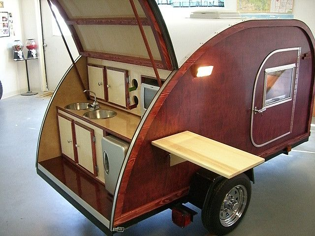 The Ultimate Teardrop camping trailer - complete with fridge and TV.
