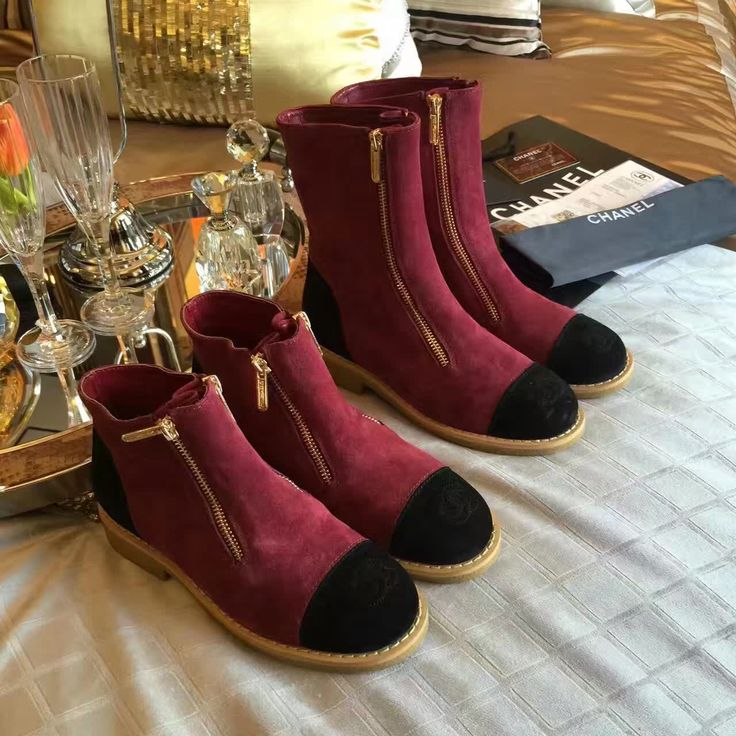 Chanel woman leather shoes short ankle boots suede leather