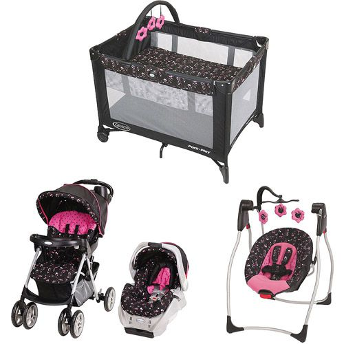 Includes the stroller, car seat, pack-n-play, swing and matching diaper bag for $288.00 at