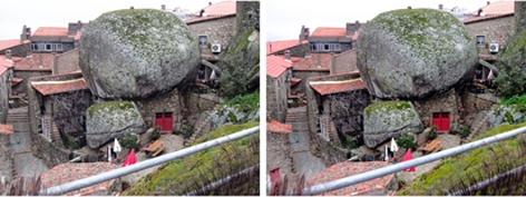 (FOTO EN 3D. By Valentín Enrique). Aldeia do Monsanto, donde reina la piedra granítica. Portugal.