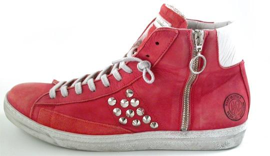 Sneakers in pelle di color rosso gambero,Pelle e camoscio morbidissima e di pregio,Lacci e cerniera laterale,GERANIUM,Quattrobarradodici | Collezione