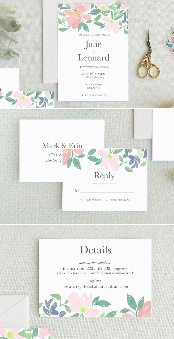 Floral watercolors and a clean type make for a gorgeous wedding invitation! This printable template also makes for a healthy wedding budget too.