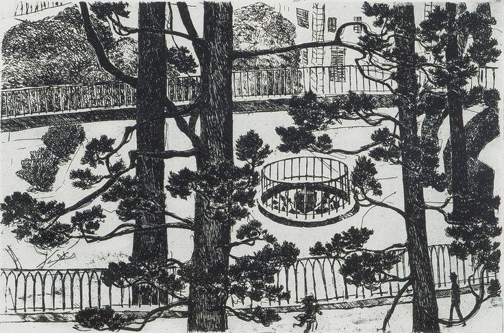 Inari Krohn: Puistonäkymä kaupungissa, 1984, etsaus, 23x32 cm, edition 4/60 - Bukowskis Market 5/2016