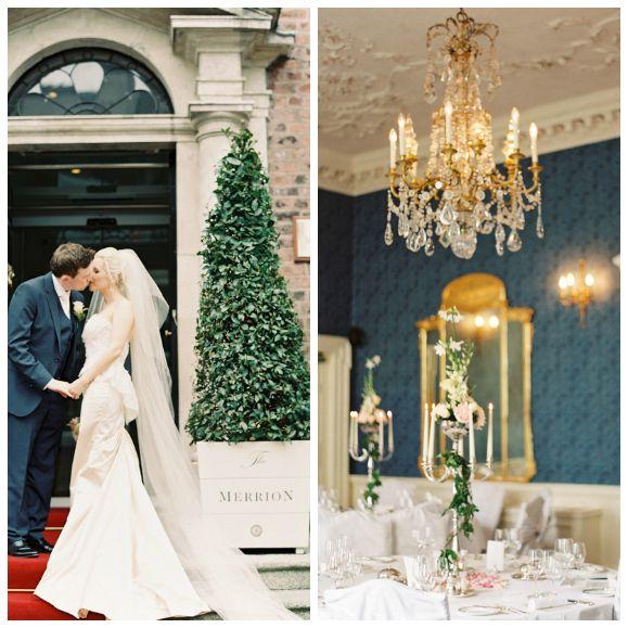 Elegant ballroom wedding at The Merrion Hotel, Dublin. Photos by Lisa O'Dwyer via Wedding Chicks