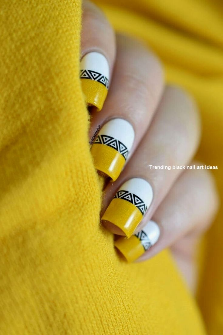 20 Simple Black Nail Art Design Ideas Nailartideas Nail Yellow Nails Yellow Nail Art Yellow Nails Design