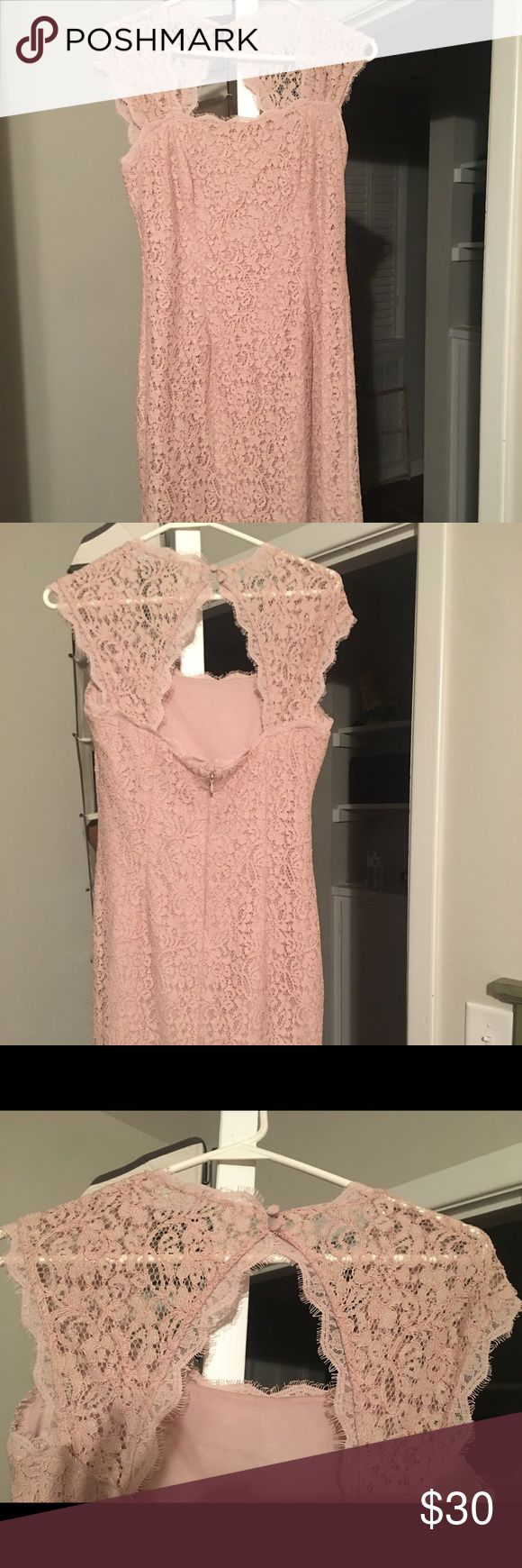 Beige lace dress Worn once to a wedding. Great condition. Dresses Midi