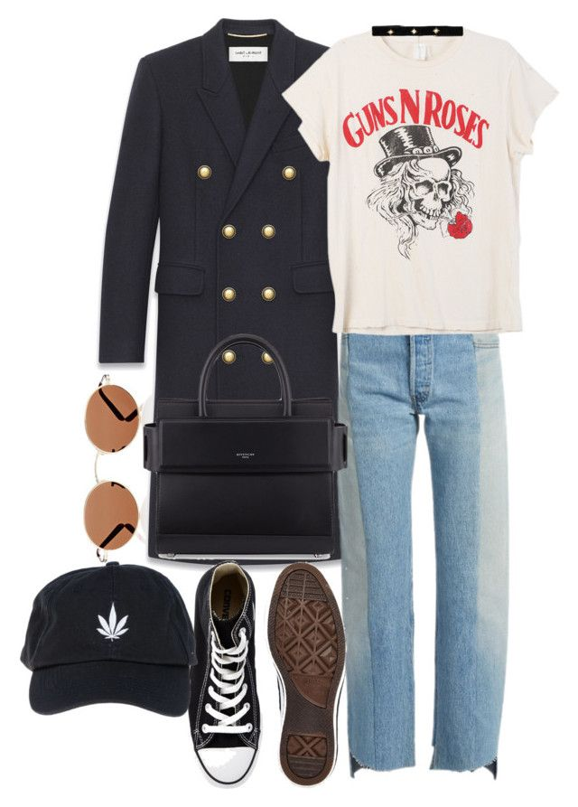 """""""Untitled #1047"""" by veronice-lopez on Polyvore featuring Oliver Peoples, Yves Saint Laurent, Vetements, MadeWorn, Converse, Givenchy, Palm Angels and Bartoli"""