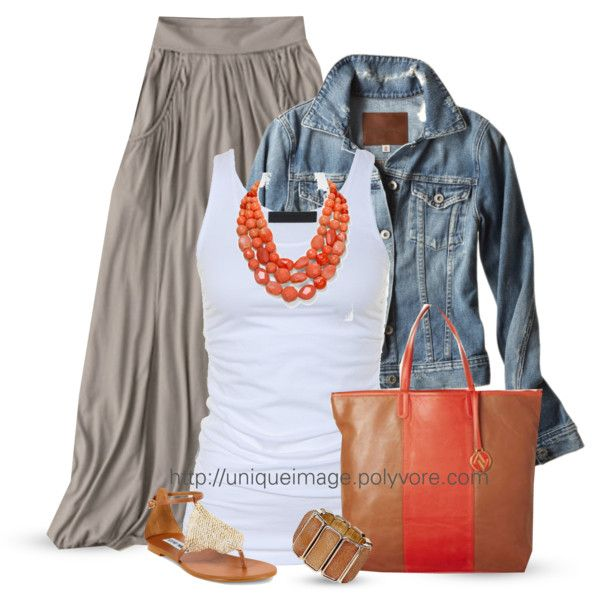 Grey maxi skirt, white tank, jean jacket, coral necklace with a great bag and shoes for summer!