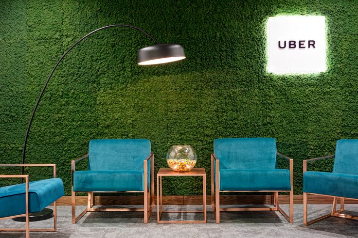 Natural texture from the moss wall at Uber Offices in London - via Office Snapshots