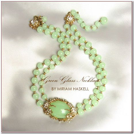 Miriam Haskell green glass necklace