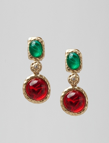 Kenneth Jay Lane Emerald And Ruby Clip Earring Gold/emerald ou6uSk6DaO