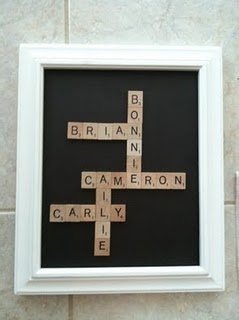 Scrabble art with names of your family members!!