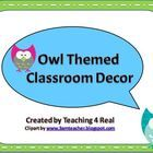 $4.50 Owl Themed Back To School Classroom Decor ...Complete your Owl Themed classroom with this Decor pack! Blank templates included for you to add your own text....