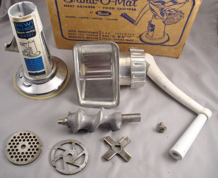 Vintage 1950s Rival GRIND-O-MAT Meat Grinder Food Chopper  in Box with Accessories - Never Used by SMNantiques on Etsy
